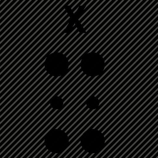 alphabet, braille, letter, x icon