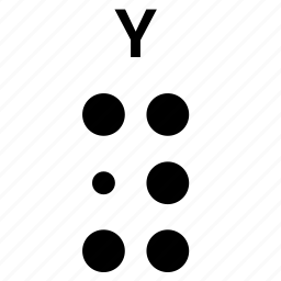 alphabet, braille, letter, y icon