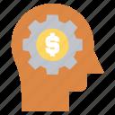 dollar, gear, head, human head, mind, thinking icon