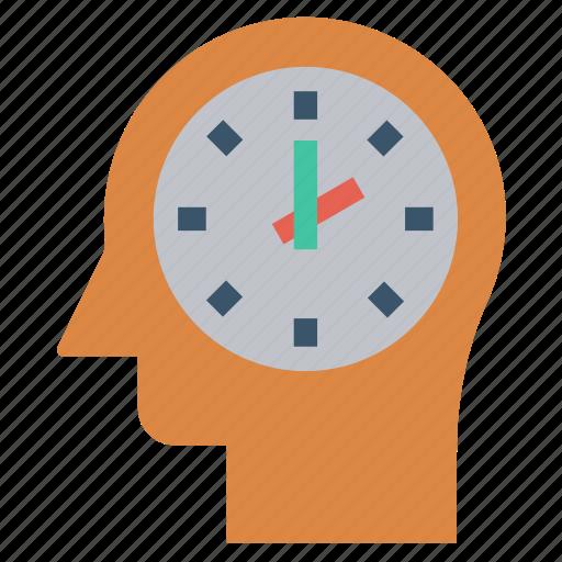 Clock, head, human head, mind, thinking, watch icon - Download on Iconfinder