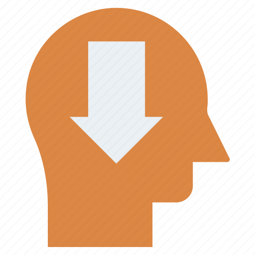 Arrow, down, head, human head, mind, thinking icon - Download on Iconfinder