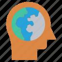 globe, head, human head, mind, thinking, world