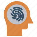 head, mind, thinking, thumb scan, verification icon