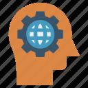 gear, head, human head, mind, thinking, world
