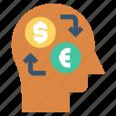 and euro, dollar, exchange, head, human head, mind, thinking