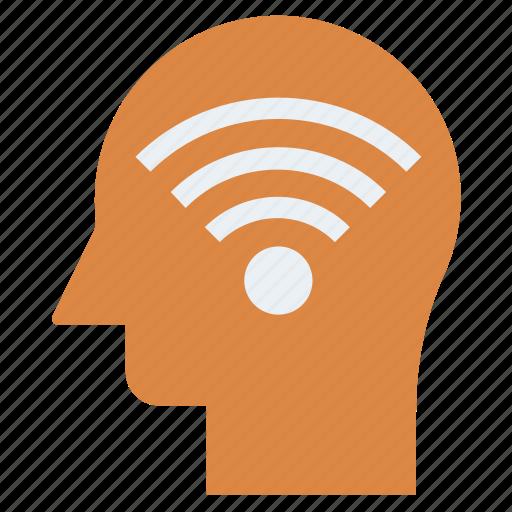Head, mind, signals, thinking, wifi icon - Download on Iconfinder