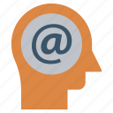 at sign, email, head, human head, mind, thinking
