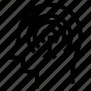 aim, brain, focus, head, target, thinking icon