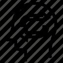 arrows, brain, head, sync, thinking, transfer icon