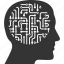 android, artificial brain, circuit, idea, memory, mind, think icon