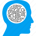 artificial intelligent, cyber mind, cyborg head, person, profile, robot, robotics icon