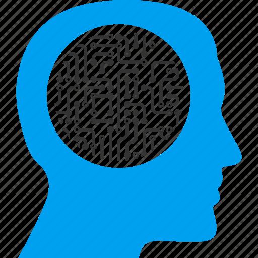 artificial intelligent, cyber mind, cyborg head, person, profile, robot, robotics icon