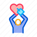 care, hand, heart, human, love, save, silhouette icon