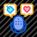 label, microphone, music, speaker