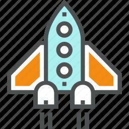 launch, rocket, shuttle, spacecraft, spaceship, start, startup, takeoff icon