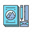 brand, branding identity, office supply, papers, pen, ruler, stationery icon