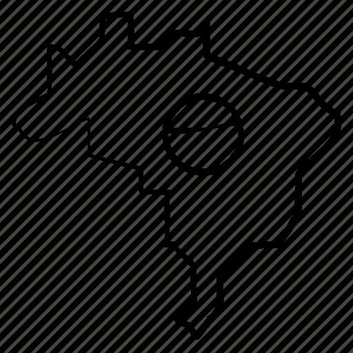 brazil, map, world icon