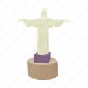 cartoon, christ, monument, redeemer, religion, statue, travel icon