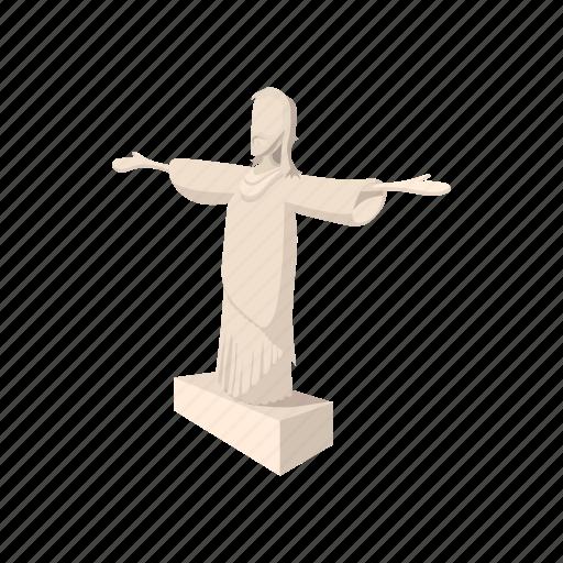 brazil, cartoon, jesus, monument, religion, rio, statue icon