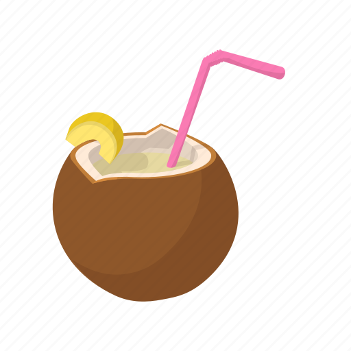 cartoon, cocktail, coconut, drink, fruit, summer, tropical icon