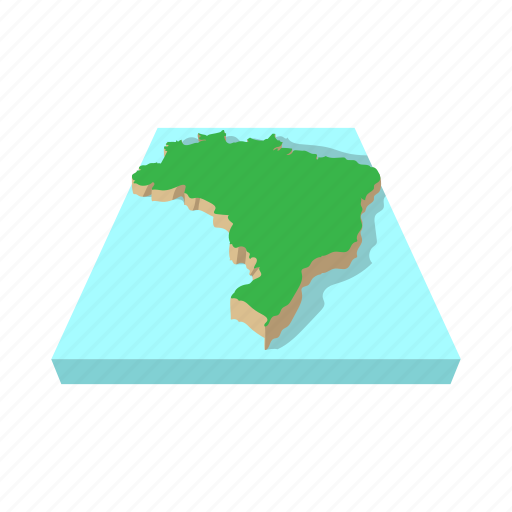 brazil, cartoon, green, map, nation, south, world icon