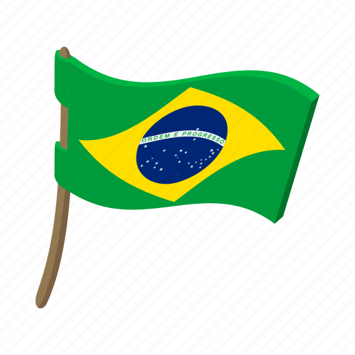 brazil, cartoon, country, flag, national, patriotism, wind icon