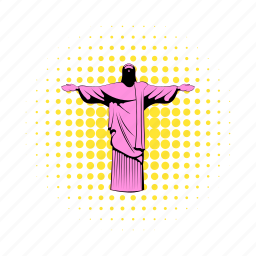 brazil, christ, comics, jesus, rio, statue, travel icon