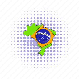 brazil, cartography, comics, flag, geography, map, travel icon