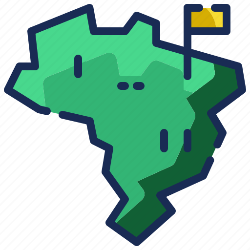 2, brazil, country, flag, map, nation, pointer, world icon