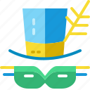 brazil, cap, costume, festival, hat, mask, party icon