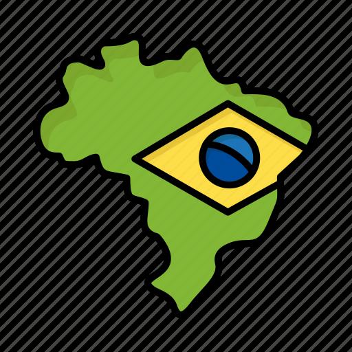 brazil, brazilian, carnival, celebration, flag, map icon