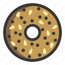 bagel, bakery, bread, breakfast, pastry icon