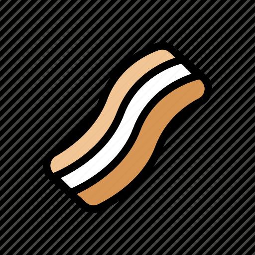 bacon, breakfast, food, fried, meat, pork icon