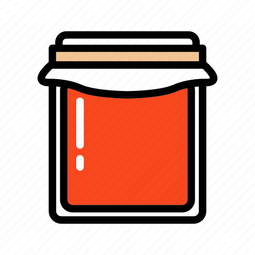 food, jam, jar, marmalade, red, sweet icon