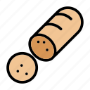 food, gourmet, meal, meat, pork, sausage, sliced sausage icon