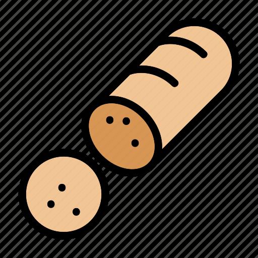 food, gourmet, meal, meat, pork, sausage, sliced sausage icon