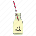 breakfast, food, milk, milk bottle, straw icon
