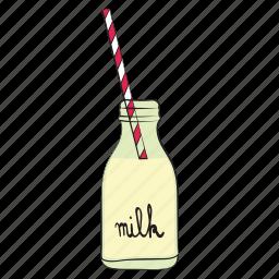 breakfast, food, milk, milk bottle, straw icon