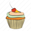 bakery, breakfast, cherry, cupcake, food icon