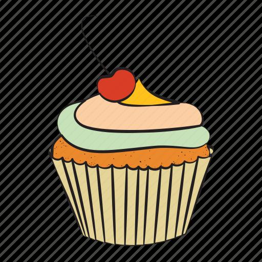 bakery, breakfast, cherry, cupcake, food icon