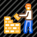 brick, bricklayer, construct, layer, mason, wall icon