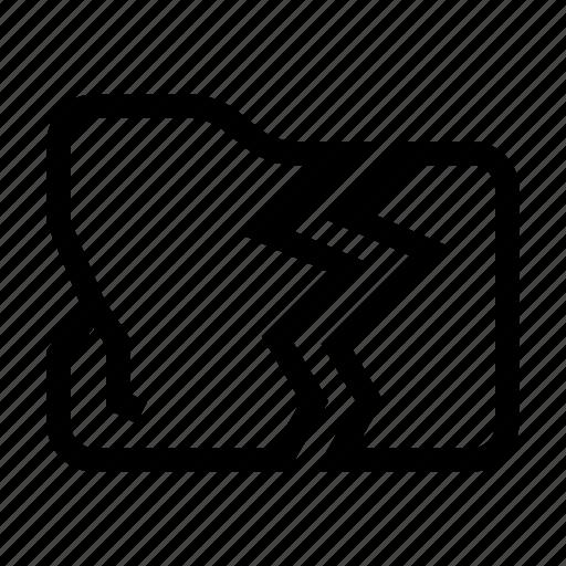 broken, document, error, fail, folder, lost, storage icon