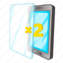 additional, glass, mobile, phone icon