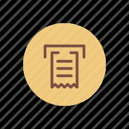 balance, bill, machine, receipt, sheet, ticket, withdraw icon