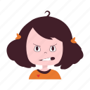 angry, girl, hold, little, mad, smiley icon