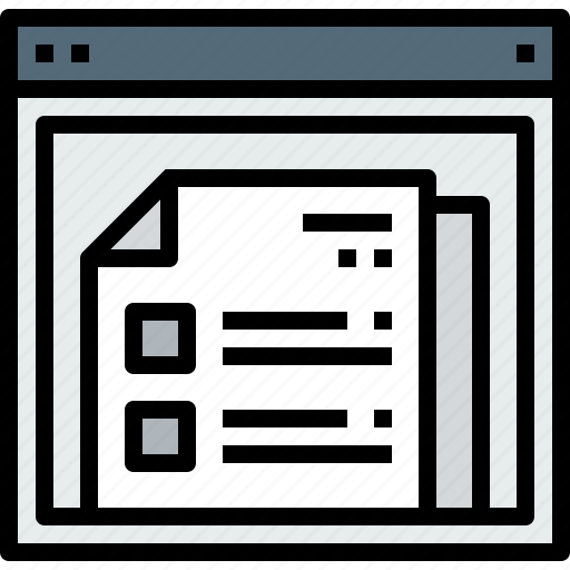 browser, document, list, web, website icon