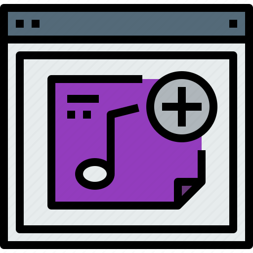 add, browser, music, web, website icon
