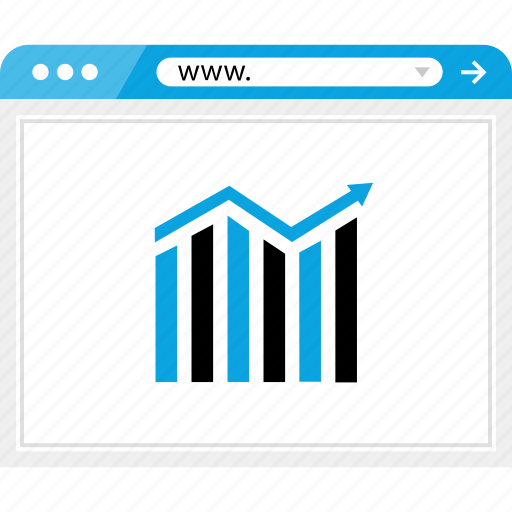 arrow, bars, browser, business, data, graph, report icon