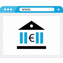bank, banking, browser, euro, money, sign icon