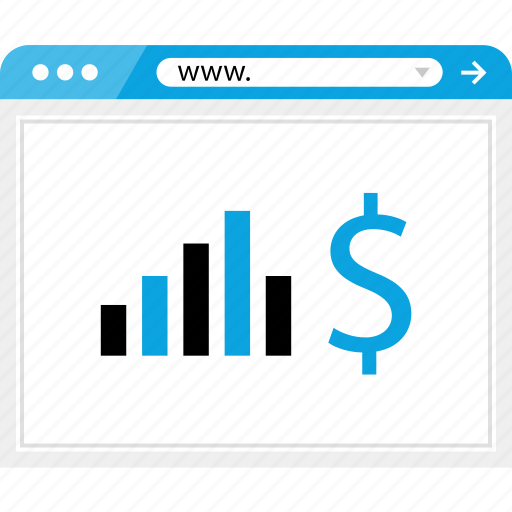 bars, browser, data, dollar, graph, money, sign icon